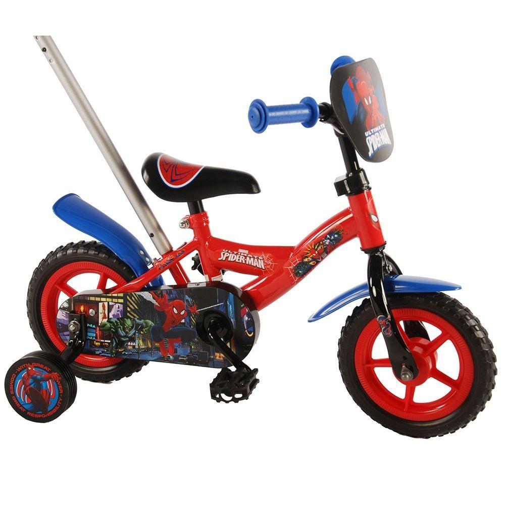9f08960a7f8 E & L cycles - Метален детски велосипед с помощни колела и родителски  контрол 10 инча - Спайдермен