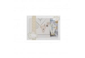 Interbaby детски спален комплект от 3 части Teddy беж (60x120см) + термометър за бебешка вана